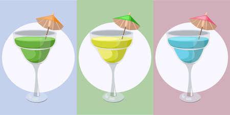 Summer cocktail fruits set.