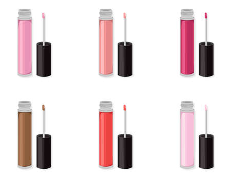 Lipgloss beauty hack set collection icons template vector Illustration