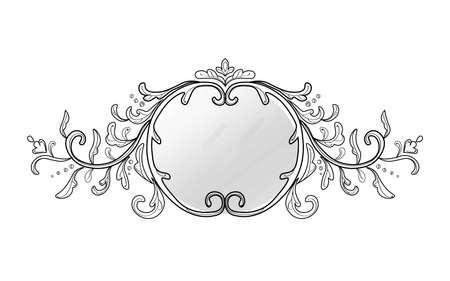 Vintage frame decor. Vector collection of round and square vintage frames, design elements