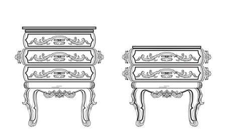 Baroque bedside furniture rich set collection. Ornamented background Vector illustration