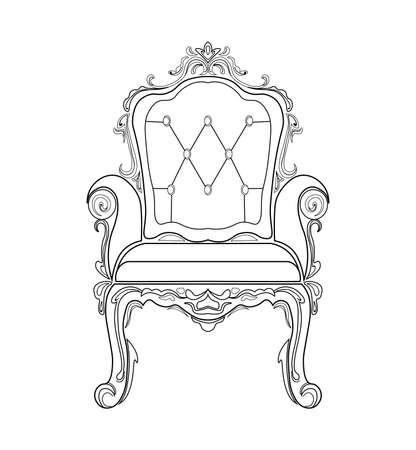 Muebles barrocos ricos sofá y sillón. Decorado a mano con adornos. Ilustraciones vectoriales Foto de archivo - 83884034