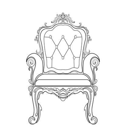 Baroque furniture rich sofa and armchair. Handmade ornamented decor. Vector illustrations