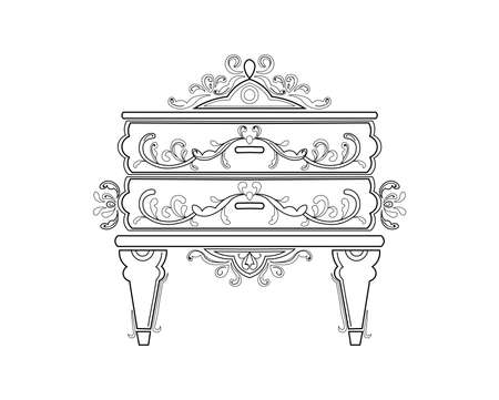 Baroque bedside commode furniture rich set collection. Ornamented background Vector illustrations