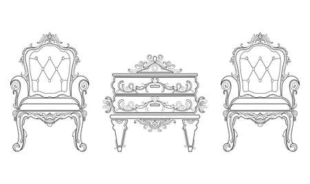 interior decoration: Baroque furniture rich set collection. Ornamented background Vector illustrations Illustration