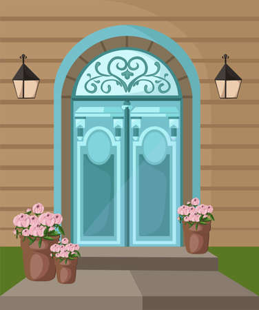 pillar box: Vintage Vector entrance door facade background illustrations