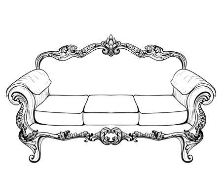 Baroque armchair with luxurious ornaments. Vector French Luxury rich intricate structure. Victorian Royal Style decors Illustration