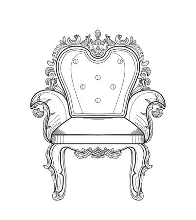 Baroque furniture rich armchair. Handmade ornamented decor. Vector illustration