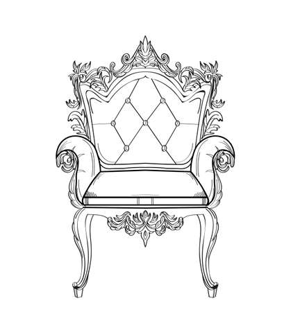 Baroque rich armchair furniture. Handmade ornamented decor. Vector illustrations