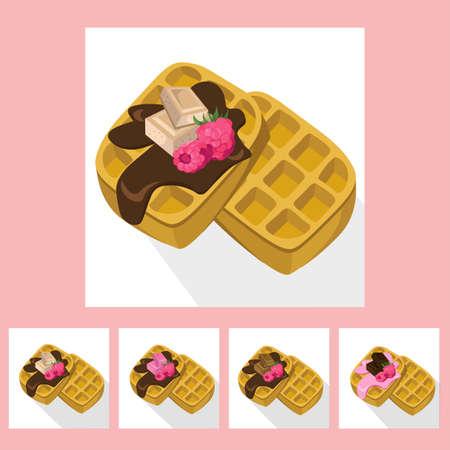 cram: Waffles chocolate syrop desserts delicious vector illustration flavours Illustration