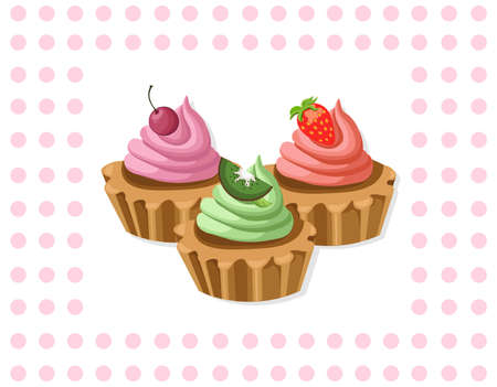 Delicious chocolate tartlet collection decor Vector illustration Retro styles Illustration