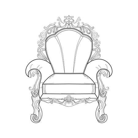 Baroque rich armchair furniture. Handmade ornamented decor. Vector illustrations