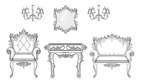 mirror frame: Baroque furniture rich set collection. Ornamented background Vector illustrations. Illustration