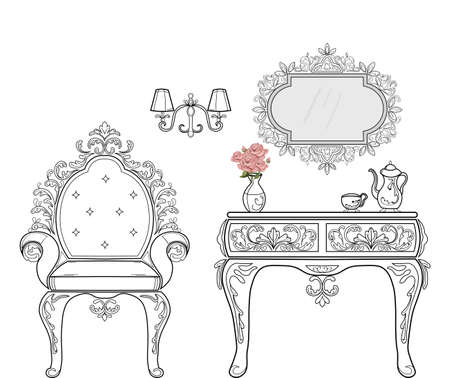 バロック様式の家具の豊富なセットのコレクション。装飾背景ベクトル イラスト  イラスト・ベクター素材