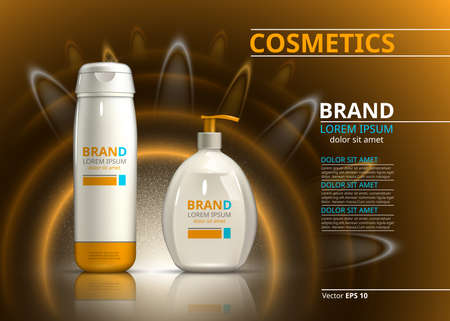 Sun protection cosmetic product design. Cosmetic bottle on a blur sparkling background. Template for ads or magazine. 3d illustrations