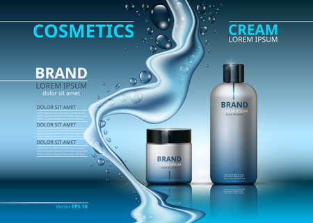 Cosmetic realistic package ads template Illustration