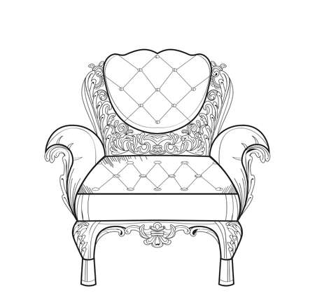 luxury room: Baroque furniture rich armchair. Handmade ornamented decor. Vector illustrations Illustration
