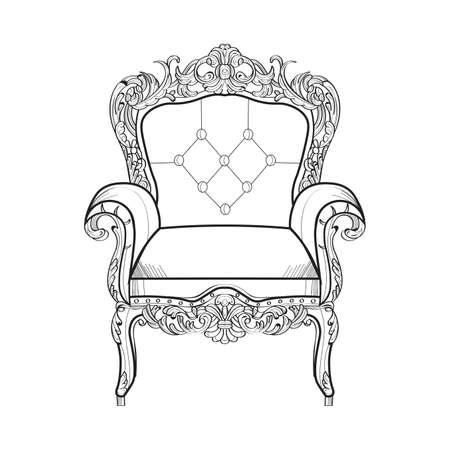 Baroque furniture rich armchair. Handmade ornamented decor. Vector illustrations Illustration