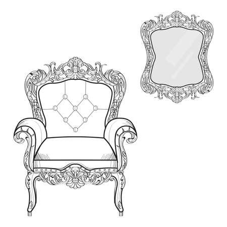 Baroque furniture rich set collection. Ornamented background Vector illustration Illustration