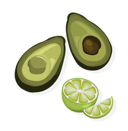 chili sauce: Avocado and lime vector on white backgrounds
