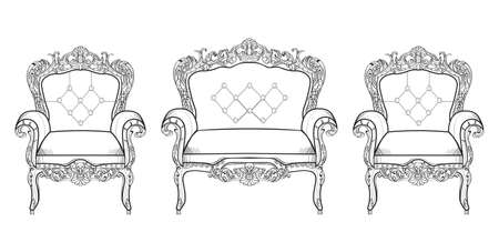 Baroque furniture rich set collection. Ornamented decor Vector illustrations