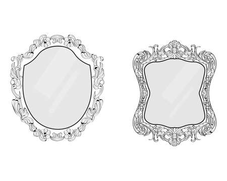 mirror frame: Ornamented mirror or photo frame. Vector backgrounds