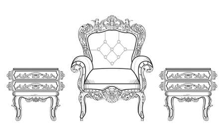 Baroque furniture rich set collection. Ornamented background Vector illustrations Illustration