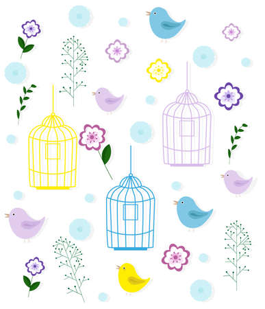 Birds cage and floral pattern childhood style