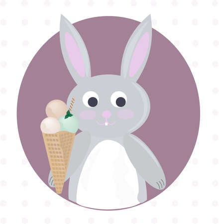 Rabbit and ice cream cartoon template Illustration