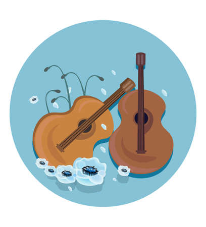 Music icon template Vector background.. Guitar with wings, stereo, record Studio sounds Illustration