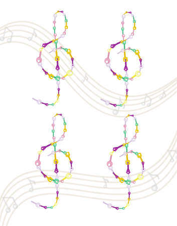 Musical key Vector colorful notes symbol illustrations