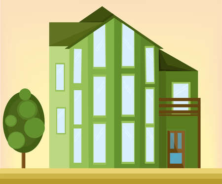 Green house modern architecture facade. Vector illustrations