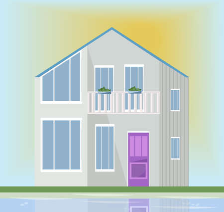 office building: Modern architecture facade of a white house. Vector illustration sunset backgrounds