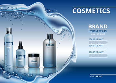 Vector Realistic Cosmetics set collection packages. Bottles for beauty products with logo label design. Hydrating Skin care spray and cream. Mock up 3D. Sparkling water drops background Illustration