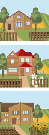 Set of a wood house in different seasonal times. Vintage town home. Vector illustration Illustration