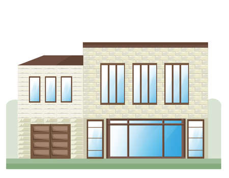 Stone house facade Vector. Architecture detailed building front view