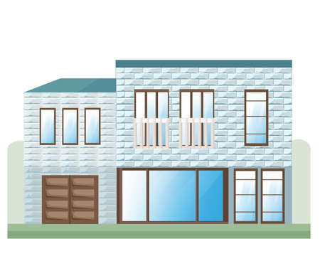 Blue Stone house facade Vector. Architecture detailed building front view illustration