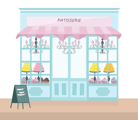 Bakery store architectural facade Vector illustration templates