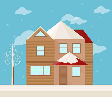 Modern architecture facade of a house. Winter background Vector illustration