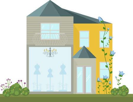 Fashion Store facade vector modern architecture building Illustration