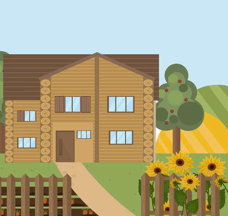 barn wood: Wood house or farm sunflowers landscape. Vector facade flat style