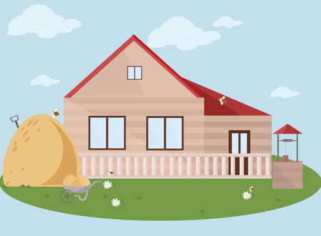 Farm facade vector flat style illustrations summer season