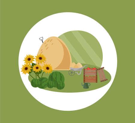 Farm hay vector flat style illustrations summer seasons Illustration