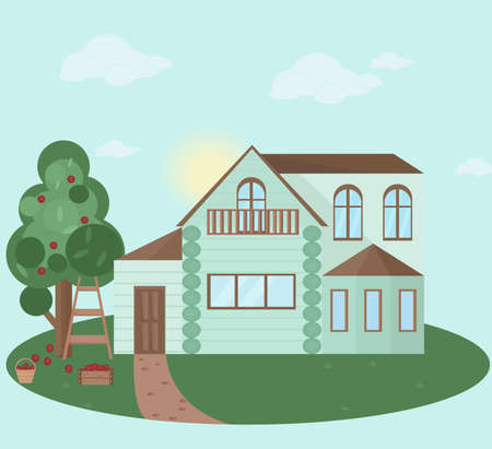 Buildings houses village architecture. Modern flat style vector illustration