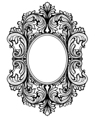 Vintage baroque frame decor. Detailed ornament vector illustration graphic line art