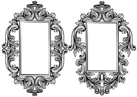 Vintage baroque frame decor. Detailed ornament vector illustration graphic line art