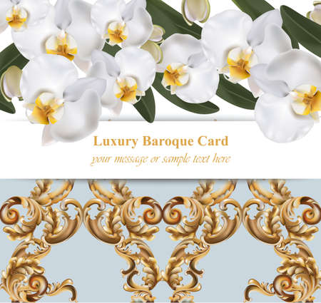Orchid flowers with ornaments card. banner poster realistic background Vector illustration Illusztráció