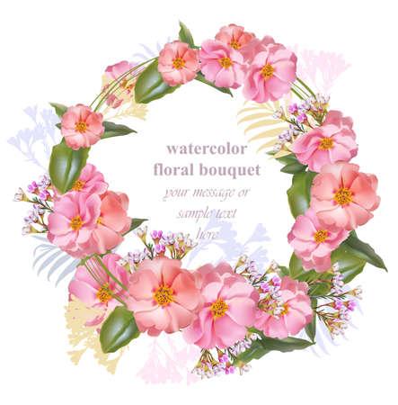Watercolor floral round wreath frame card. Vintage bouquet beauty Vector Illustration