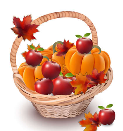 Pumpkins and apples in a basket. Autumn season concept Vector realistic ripe fruits
