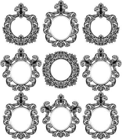 Vintage baroque frame decor set. Detailed ornament vector illustration