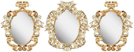 Gold Classic frame decor set. Detailed ornament vector illustration